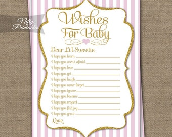 Wishes For Baby Game - Pink & Gold Baby Shower Game - Baby Wishes Cards - Hopes For Baby - Printable Instant Download - PGL