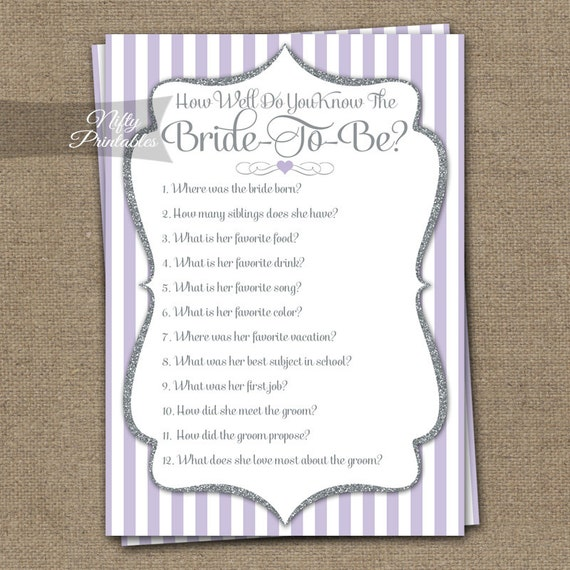 How well do you know the bride bridal shower trivia game lilac