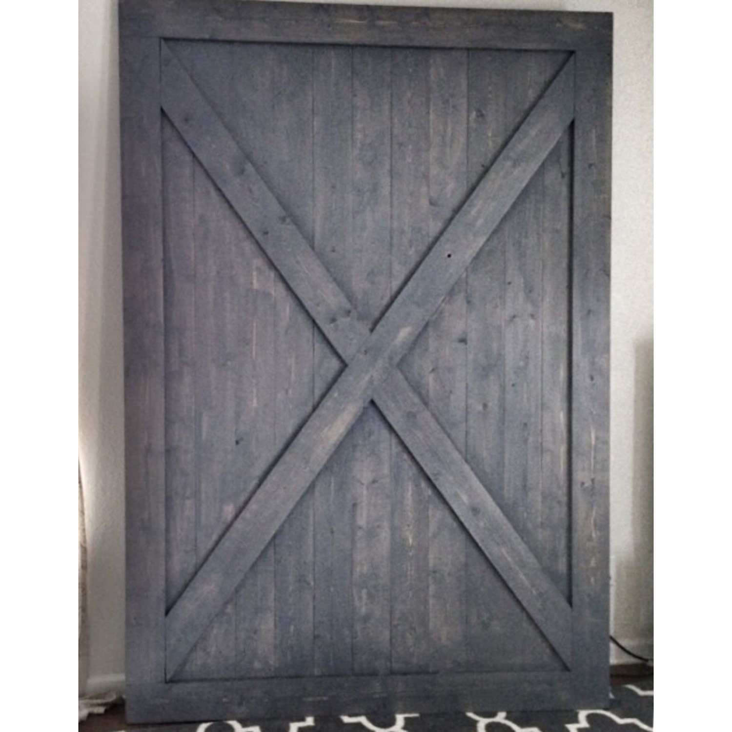 Custom made sliding barn door x design rustic gray for Custom sliding doors