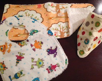 Custom made bibs and burp cloths.
