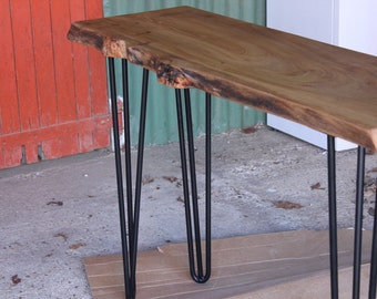 Elm slab console table on hairpin legs