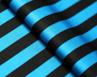 5 Yard/5 Meter Stretch Fabric - Stripe  Print, Turquoise and Black Striped Four way Stretch Spandex Fabric Item# RXPN-1/2-STRIP