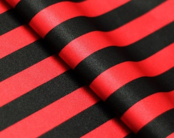 5 Yard/5 Meter Stretch Fabric - Stripe  Print, Red and Black Striped Four way Stretch Spandex Fabric Item# RXPN-1/2-STRIP