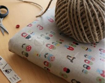 Laminated Cotton Linen Fabric Matryoshka By The Yard