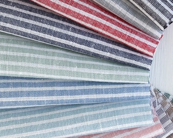 Cotton Linen Fabric Stripe in 4 Colors By The Yard