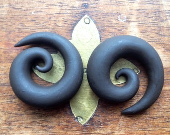 "19mm (3/4"") Dark Brown Spiral Earrings for Stretched/Gauged Ears"