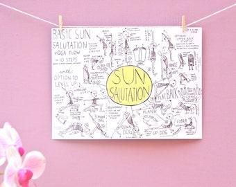 Sun Salutation Diagram Full-Color Digital File (print fits 8x10 matte) Printable Downloadable File [Yoga Yogi Asana Gift Handdrawn]