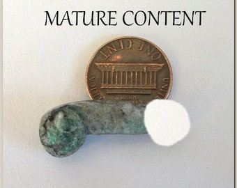 Pagan Male Mysteries Geb Green Emerald Phallic Shaped Hand Carved Stone Miniature Penis