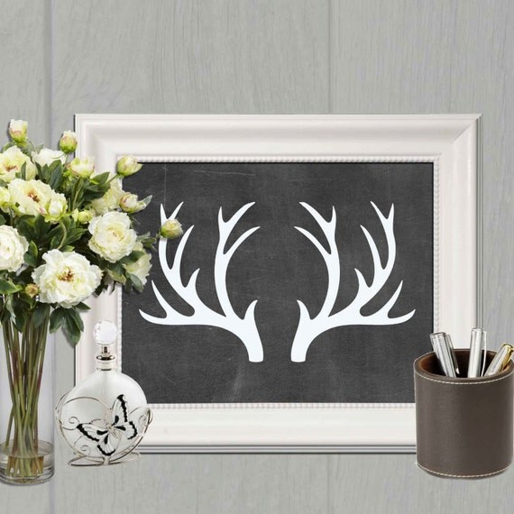 Antler printable deer antlers print black and white home decor for Antler decorations for home