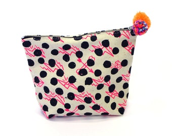 Make-Up Bag Neon Pink/ Black/ Mint Spot with Pom Pom detail
