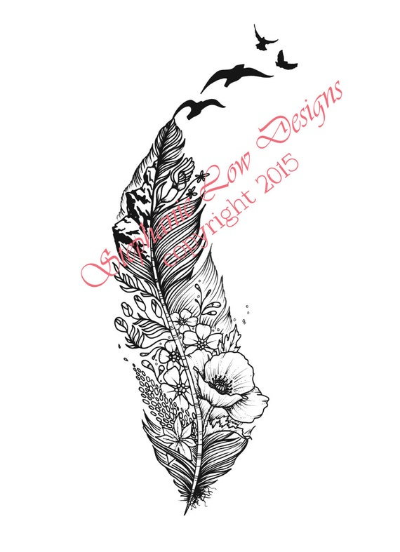 custom tattoo illustration for kirstin a little feather with. Black Bedroom Furniture Sets. Home Design Ideas