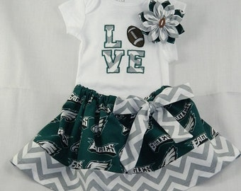 Philidelphia Eagles NFL Embroidered onesie, skirt, and headband for baby girl, NB-18 months