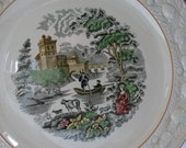 Wm Adams and Sons Italian Scenery Charger with Pinecone, Acorn and Apple Embossed Border. Made in England.