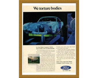 "1969 Ford Motor Company Color Print AD / We torture bodies / 8"" x 11"" / Original Advertisement / Buy 2 ads Get 1 FREE"
