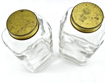 Vintage 1950's Tall Glass Candy Bottles with Metal Screw Top Lids