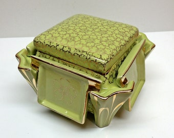 Vintage Mid Century Green Tobacciana, Elegant Gold trimmed Keystone Tobacco Box and Lid with 4 ashtrays