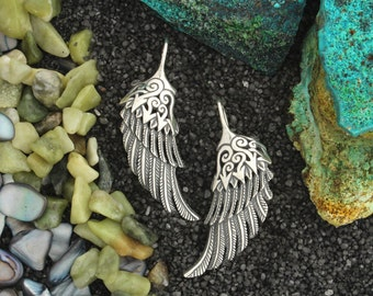 Sterling Silver, Hand Made Raven Wing Earrings