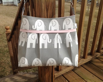 SALE TODAY! Diaper bag in grey elephant and soft pink l. medium/large, deluxe bag