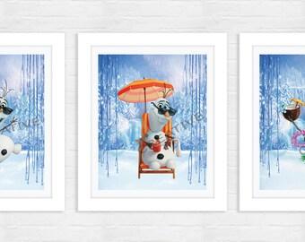 Frozen Art Print - Frozen Nursery Art - Frozen Nursery Decor - Frozen Bedroom Art - Frozen Bedroom Decor - Olaf