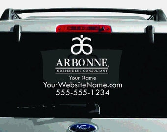 SALE- Arbonne Single-Color Logo Car Decal with Custom Name, Website, etc.