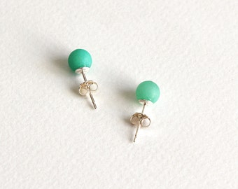 Silver and Jade Stud Earrings, Jade Stone Bead Posts