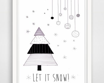 let it snow, printable christmas greeting card