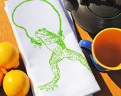 Kitchen Napkins Set of 4 - Hand Screen Printed Cotton Cloth Napkins - Whimsical Print Green Frog Jumping Rope - Washable Reusable