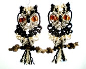 Owl micro macrame earrings on a perch knotted with taupe and brown nylon cord