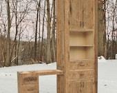 Rustic Linen Cabinet w/Makeup Vanity - Reclaimed Barn Wood (Unfinished)  #9055