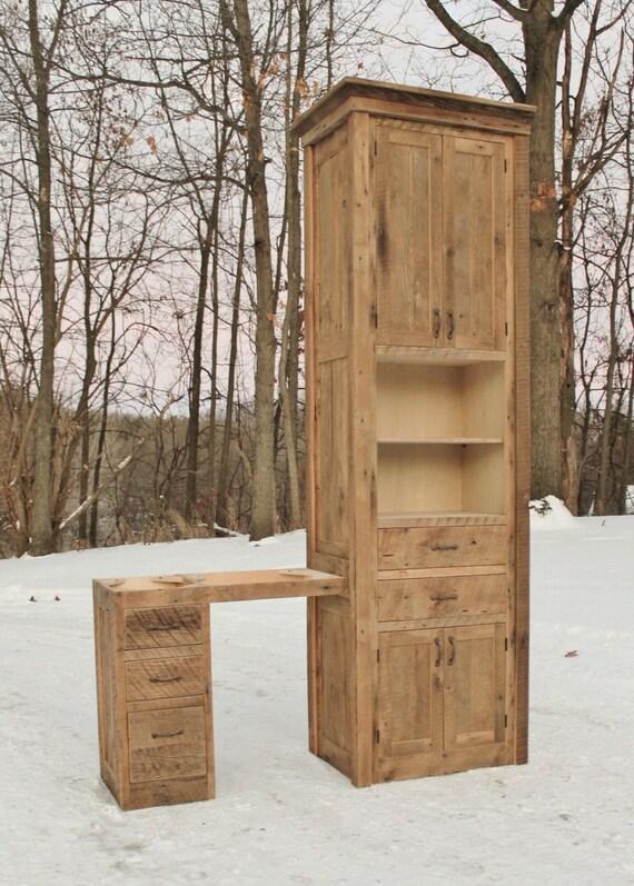 Rustic Linen Cabinet W Makeup Vanity Reclaimed Barn Wood