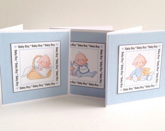 4 Cute Baby Boy Themed Baby Shower Thank you Cards Invites announcement cards for baby birth blank inside for message