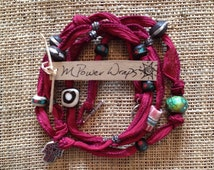 Black Cherry Silk Ribbon with Hamsa Hand Charm ( protection and blessings)