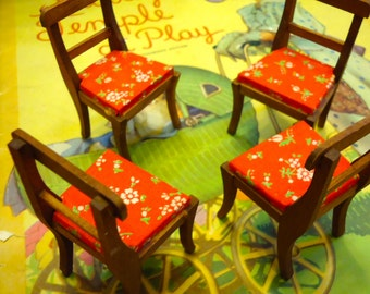 Set of 4 wooden dollhouse dining chairs