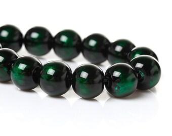 Glass Round Beads Green Black Swirl 8mm Stunning Loose Beads Dark Forest 20/50/100 3864