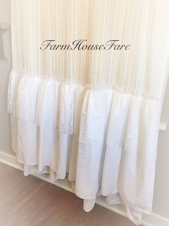 Soft French White Ruffle Curtains Shabby Chic Girls Bedroom Long Tall ...