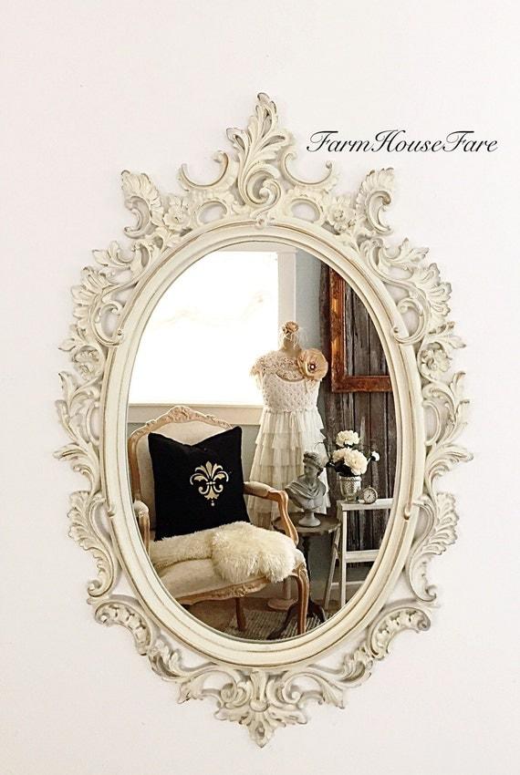 Shabby chic mirror white ivory nursery ornate mirror large for Baroque bathroom mirror