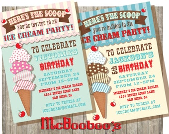 Old fashioned ice cream parlor inspired birthday party invitation with an illustration of stacked ice cream scoops in different patterns