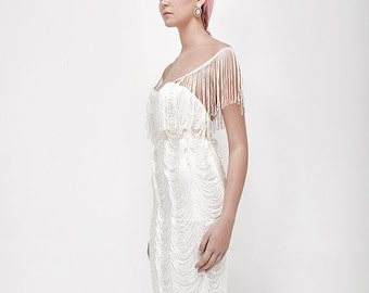 fringes wedding dress vintage style white wedding dress with v back, wedding gown, ivory weding gown, low back bridal dress
