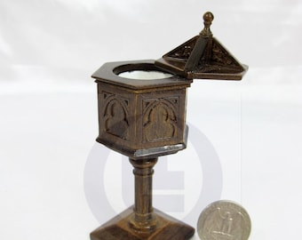 Miniature 1:12 Scale Baptism Stand For Doll House[Finished In Dark Walnut]