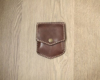 Handmade Leather Coins Bag, Leather wallet, modern cowboy personality x daily carry zero wallet (brown)