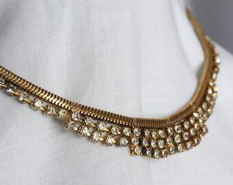 Gold Rhinestone Vintage Necklace 118