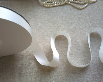 """1"""" width  White Double Faced Satin Ribbon ,gift ribbon ,pure white trim ,off white wedding ribbons"""