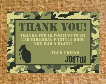 Customized Army Camo Birthday Thank You - Digital File