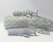 Stuffed  Whale, Whale toy, Plush animal. Set of 3 whales. Child friendly softie. Grey cloth. Nautical nursery toy Nice gift  for baby shower