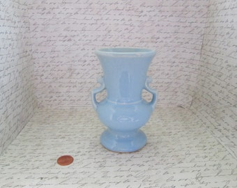 Vintage US Pottery Small Pale Blue Vase with Double Handles ceramic vase pottery vase handled vase blue pottery blue ceramics small vase