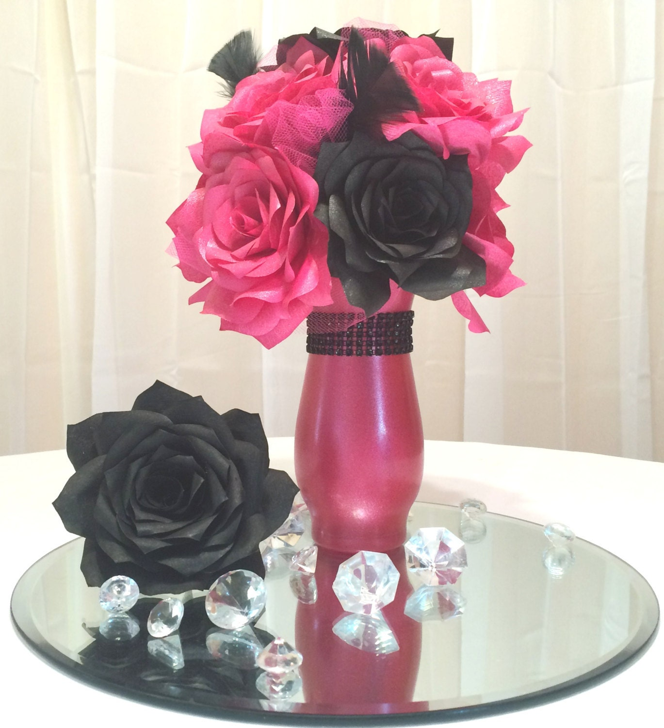 Hot pink and black floral centerpiece bridal