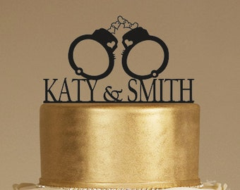 Custom Wedding Cake Topper,  handcuffs and names