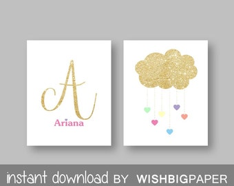 Initial Name Cloud Heart Rain Personalised Bedroom Nursery Wall Art Print - Digital Download- Set Of Two (2). Glitter Name Wall Art. Sets