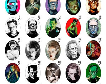 005 - Camafeos - Frankenstein - Digital Collage Sheet 30 X 40mm (300 Dpi - Adobe PDF)
