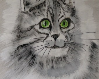 Abstract Black and White Cat Painting/Art